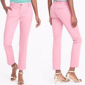 J. Crew 10 Pink Cotton Laney Chino Ankle Pants